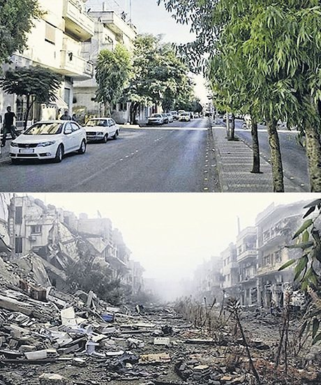 A street in Homs, in 2011 (above) and 2014 (below)